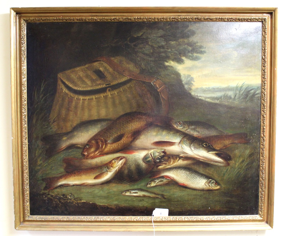 An unsigned oil on canvas of fish and creel,