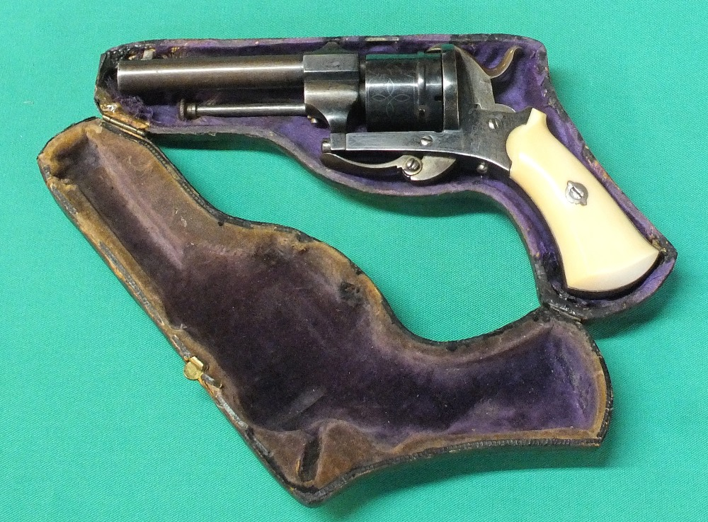 Lot 66 - A six shot 7mm cal pin fire double action revolver,