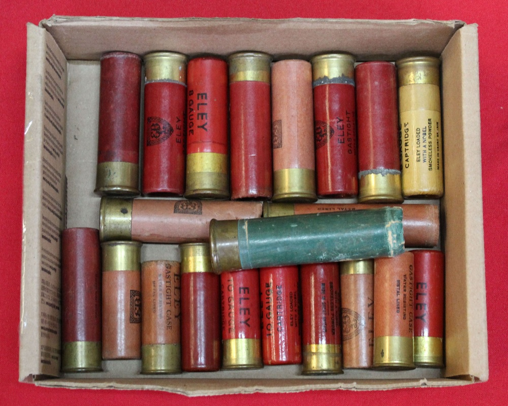 Lot 92 - Various 8 and 10 bore cartridges with an empty 4 bore Eley Bro's case,