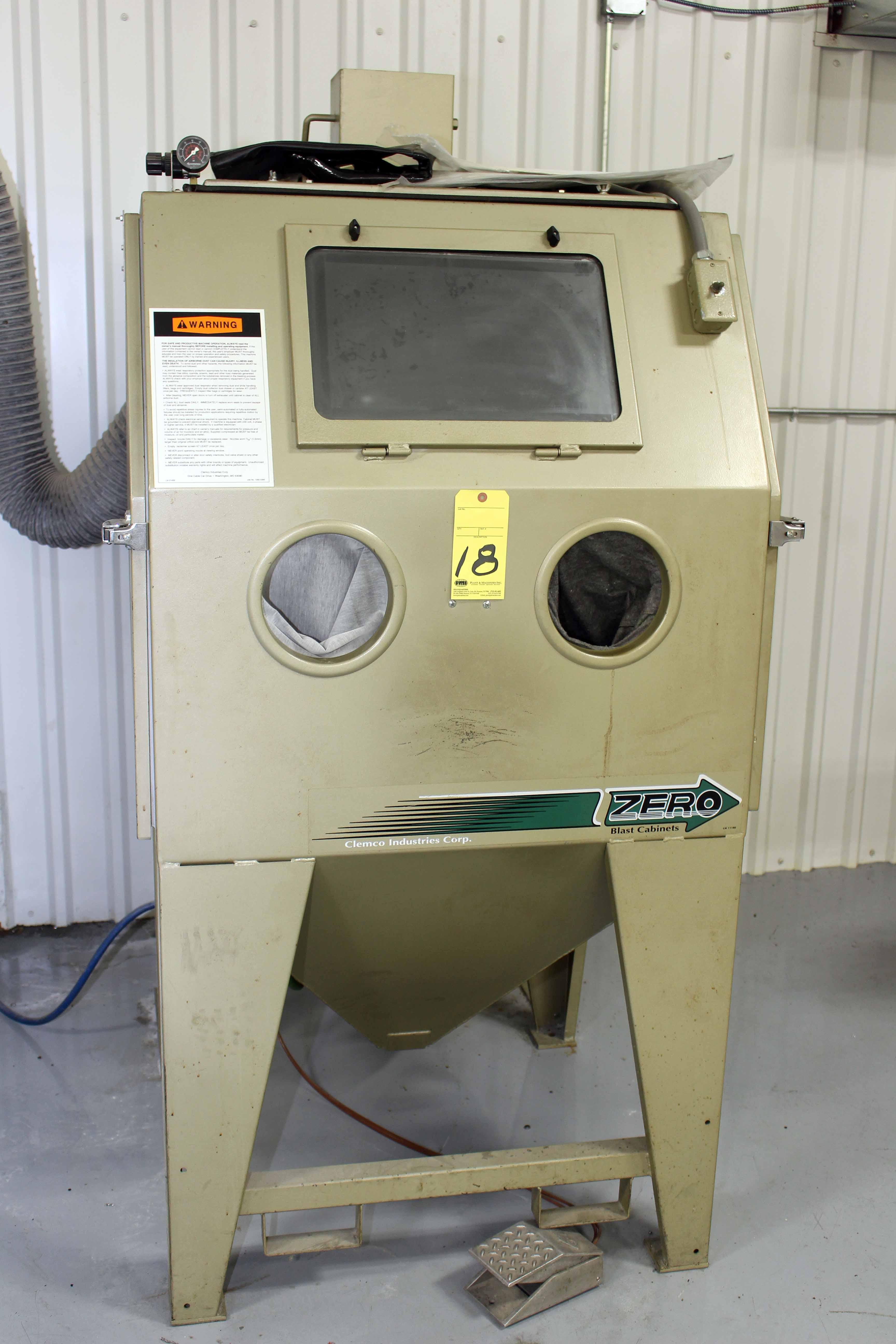 Clemco Industries Blast Cabinets Blast Cabinet Zero Blast N Peen Mdl Bnp65 600rndf New 2002