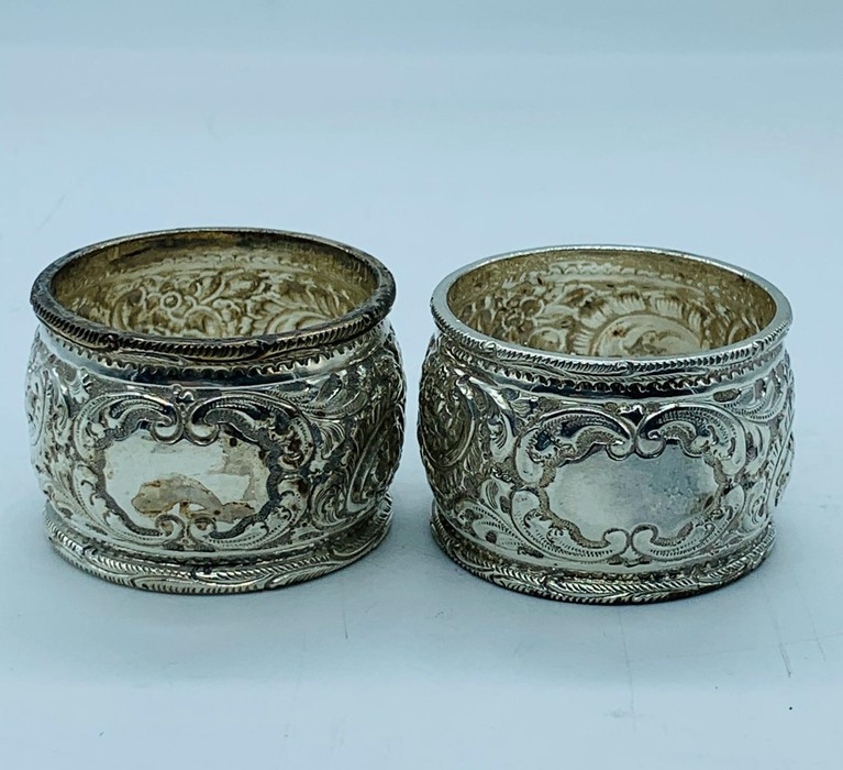 Lot 39 - A selection of seven silver hallmarked napkin rings.