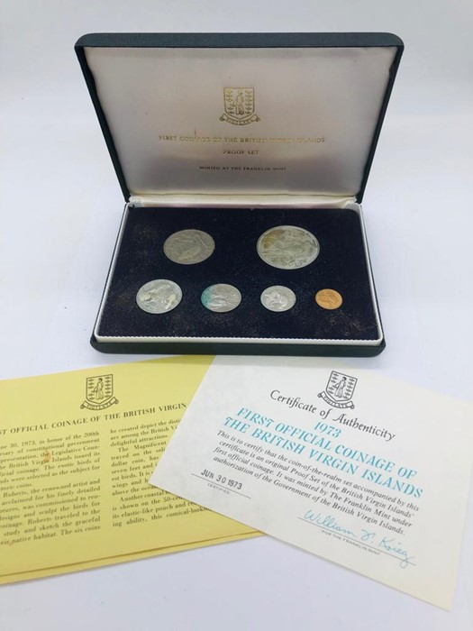 First Official Coinage of the British Virgin Islands 1973 including a silver dollar