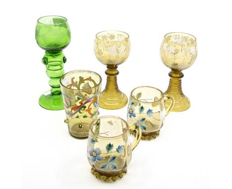 Six Continental green glass goblets, mugs and tumbler, etched, jewelled and enamelled (6)