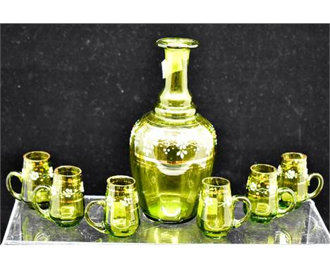 An early 20th century green glass liqueur decanter and glasses, and a tumbler (8)