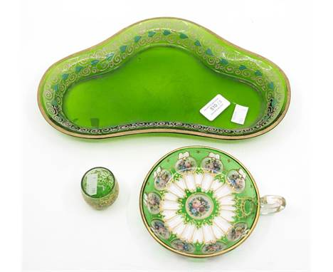 A green glass kidney shaped dish with gilt decoration; and painted and gilded green flash glass cup; and a tumbler (3)