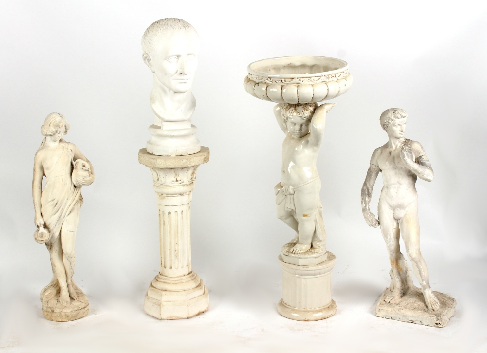 Lot 470 - Property of a deceased estate - an Italian white glazed jardiniere modelled as a standing putto,