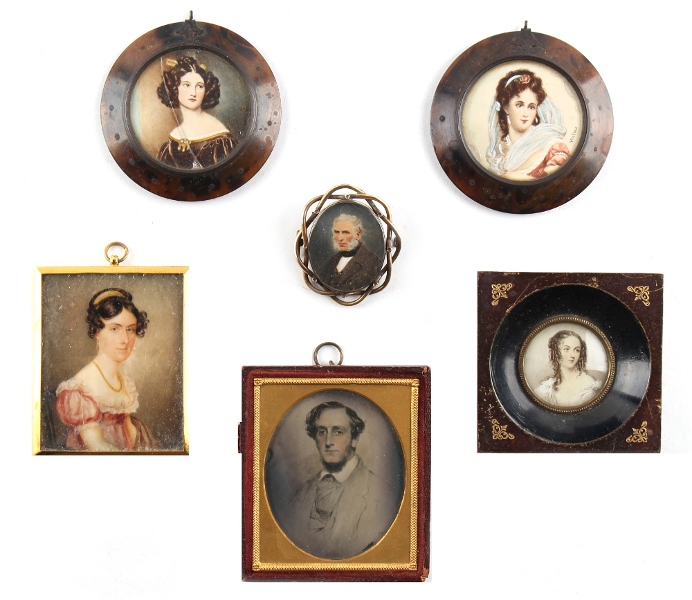 Lot 292 - Property of a lady - a group of six 19th century portrait miniatures including a pair in