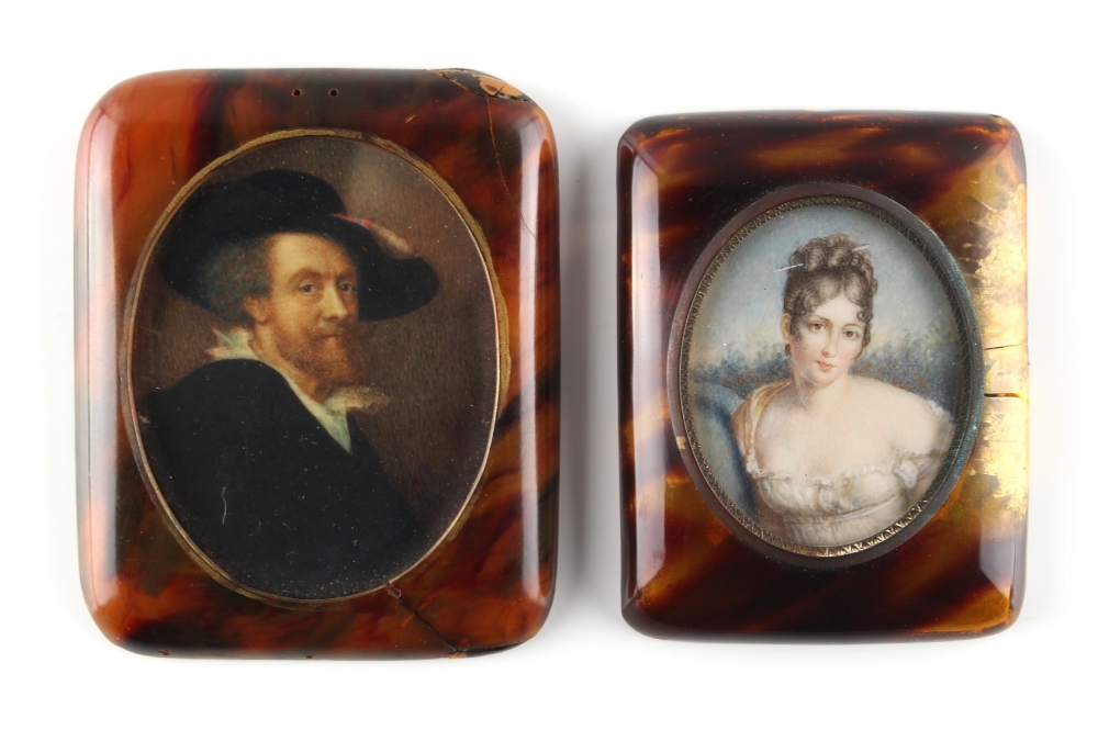 Lot 304 - Property of a lady - two late 19th / early 20th century decorative portrait miniatures, in