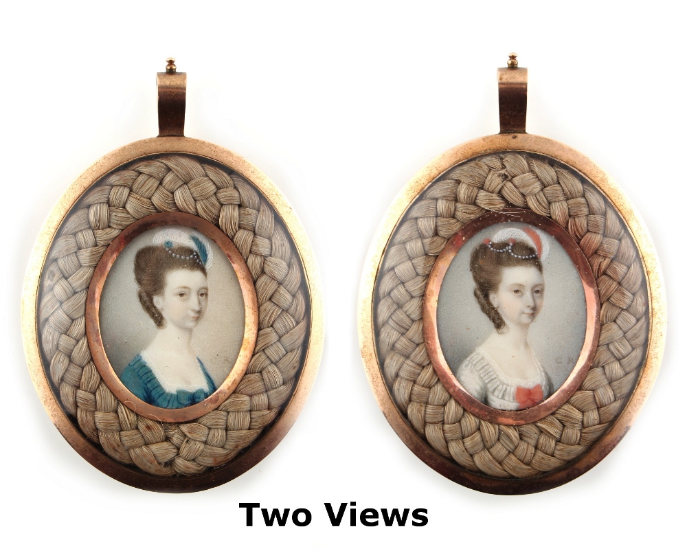 Lot 297 - Property of a gentleman - English school, circa 1770 - PORTRAITS OF TWO LADIES, PROBABLY SISTERS - a