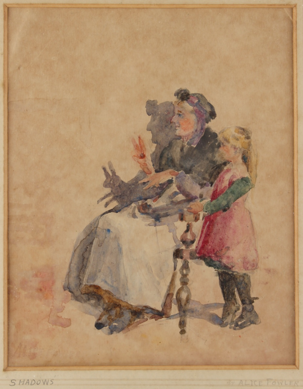 Lot 517 - Property of a gentleman - Alice Fowler (early 20th century) - 'SHADOWS' - watercolour, 9.85 by 7.