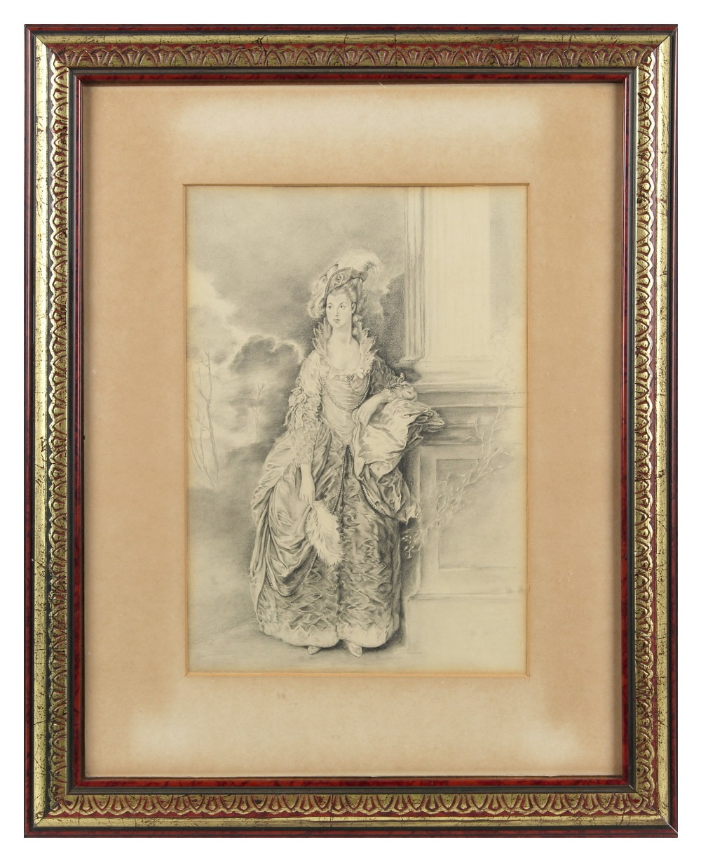 Lot 420 - Property of a gentleman - English school - PORTRAIT OF AN EIGHTEENTH CENTURY LADY - charcoal