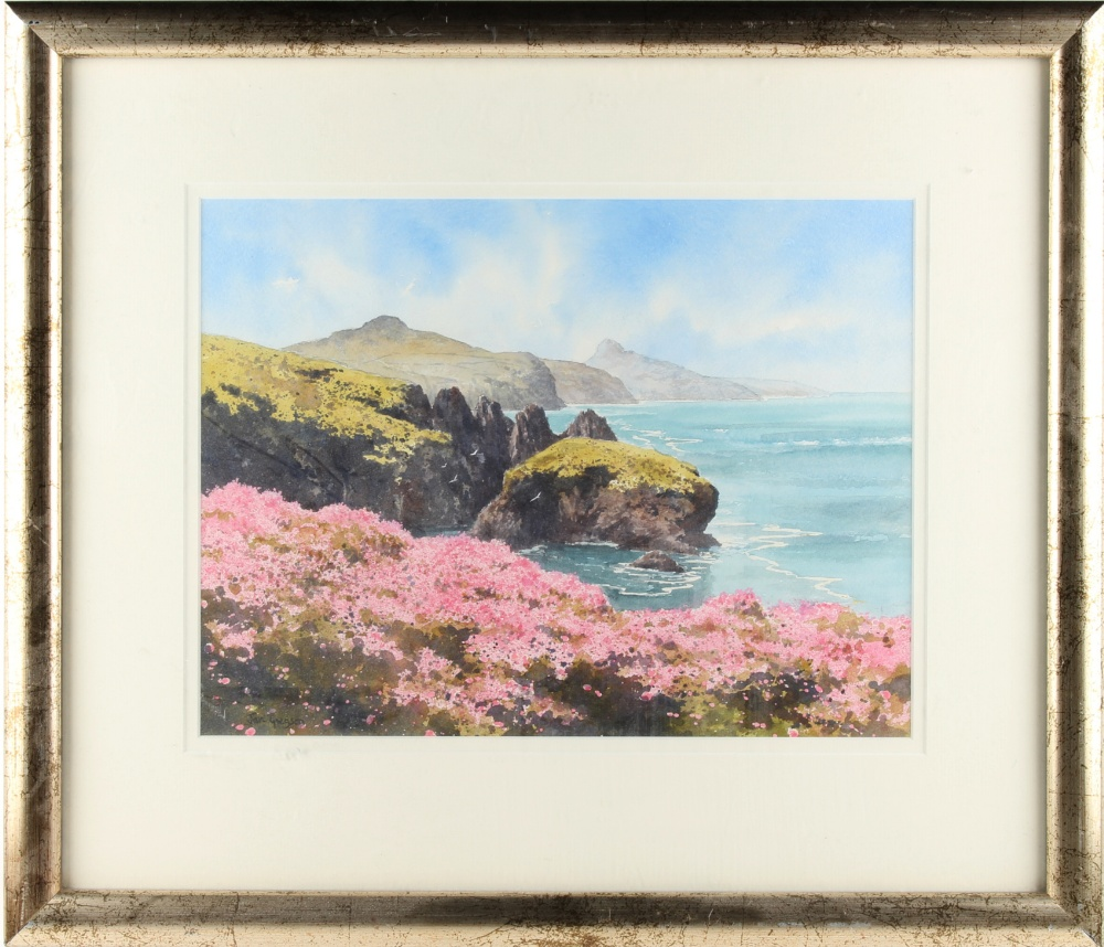 Lot 523 - Property of a lady - Jan Gregson (b.1949) - COASTAL VIEW, PROBABLY PEMBROKESHIRE - watercolour, 11.5