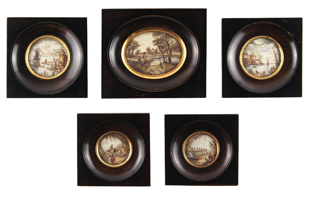 Lot 305 - Property of a lady - two pairs of late 19th / early 20th century decorative miniature circular