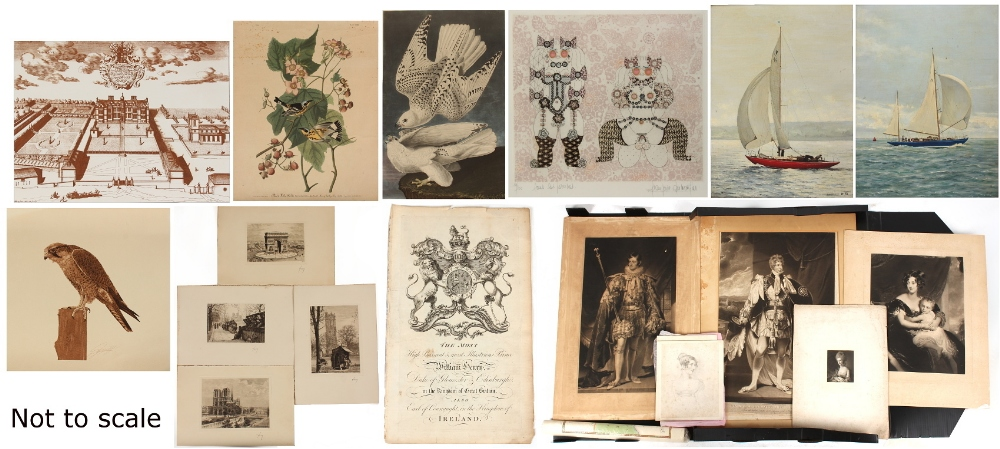 Lot 565 - Property of a gentleman - a folio case containing assorted unframed pictures & prints; together with