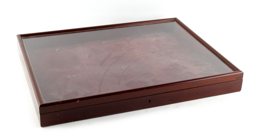 Lot 296 - Property of a gentleman - an early 20th century mahogany glazed wall case for portrait miniatures,