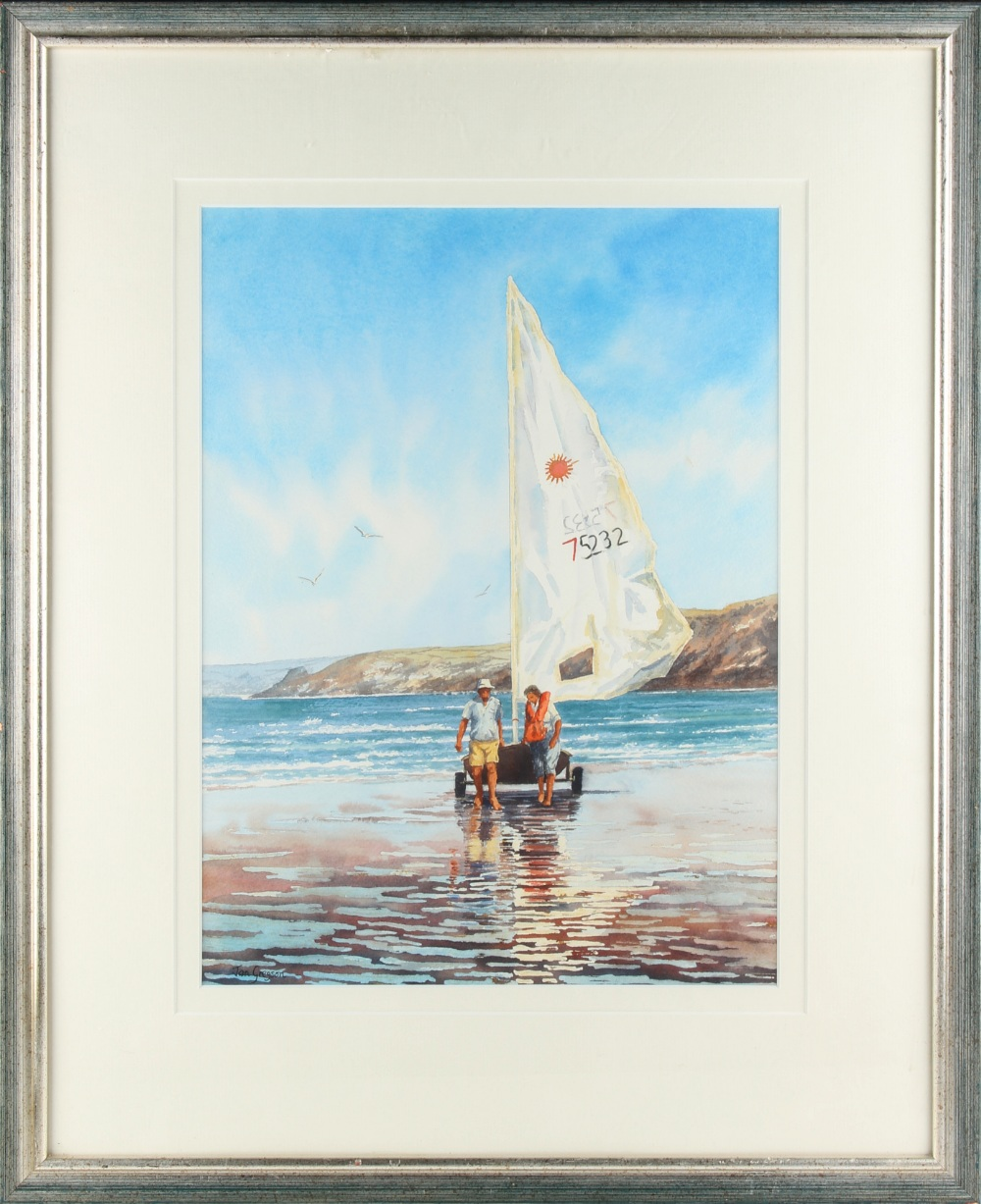 Lot 524 - Property of a lady - Jan Gregson (b.1949) - LANDING THE DINGHY - watercolour, 17.2 by 12.7ins. (43.7