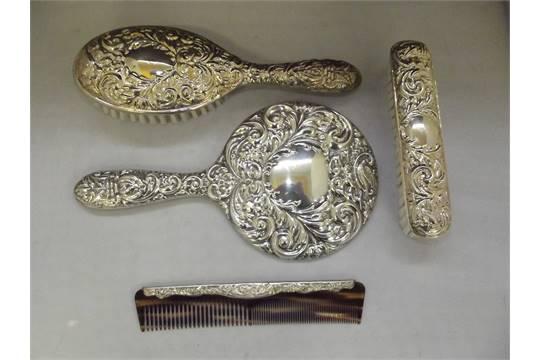 Hand Mirror Hair Brush Clothes Brus, Dressing Table Set Mirror Brush