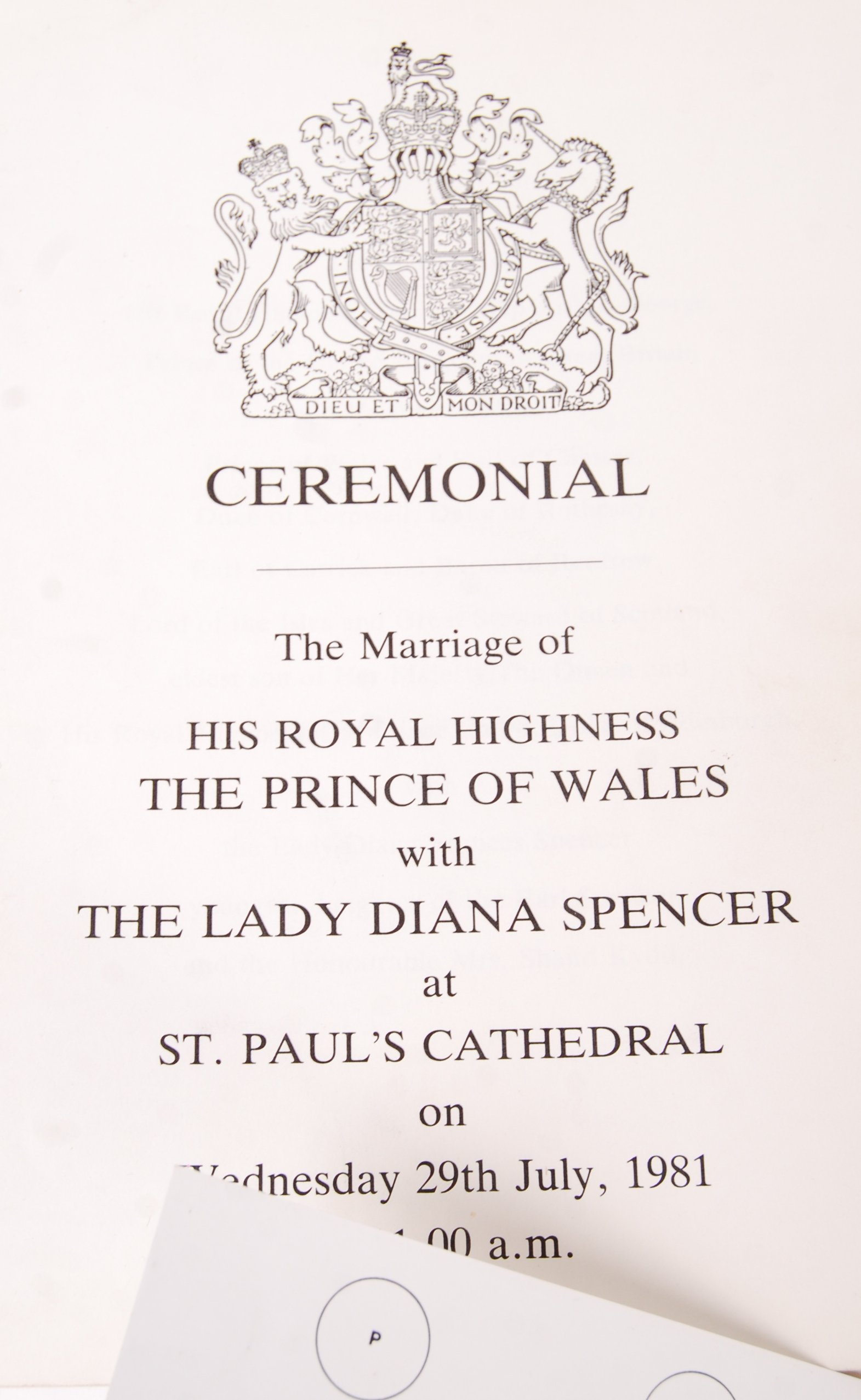 MARRIAGE OF THE PRINCE OF WALES & LADY DIANA SPENCER WEDDING EPHEMERA - Image 2 of 6