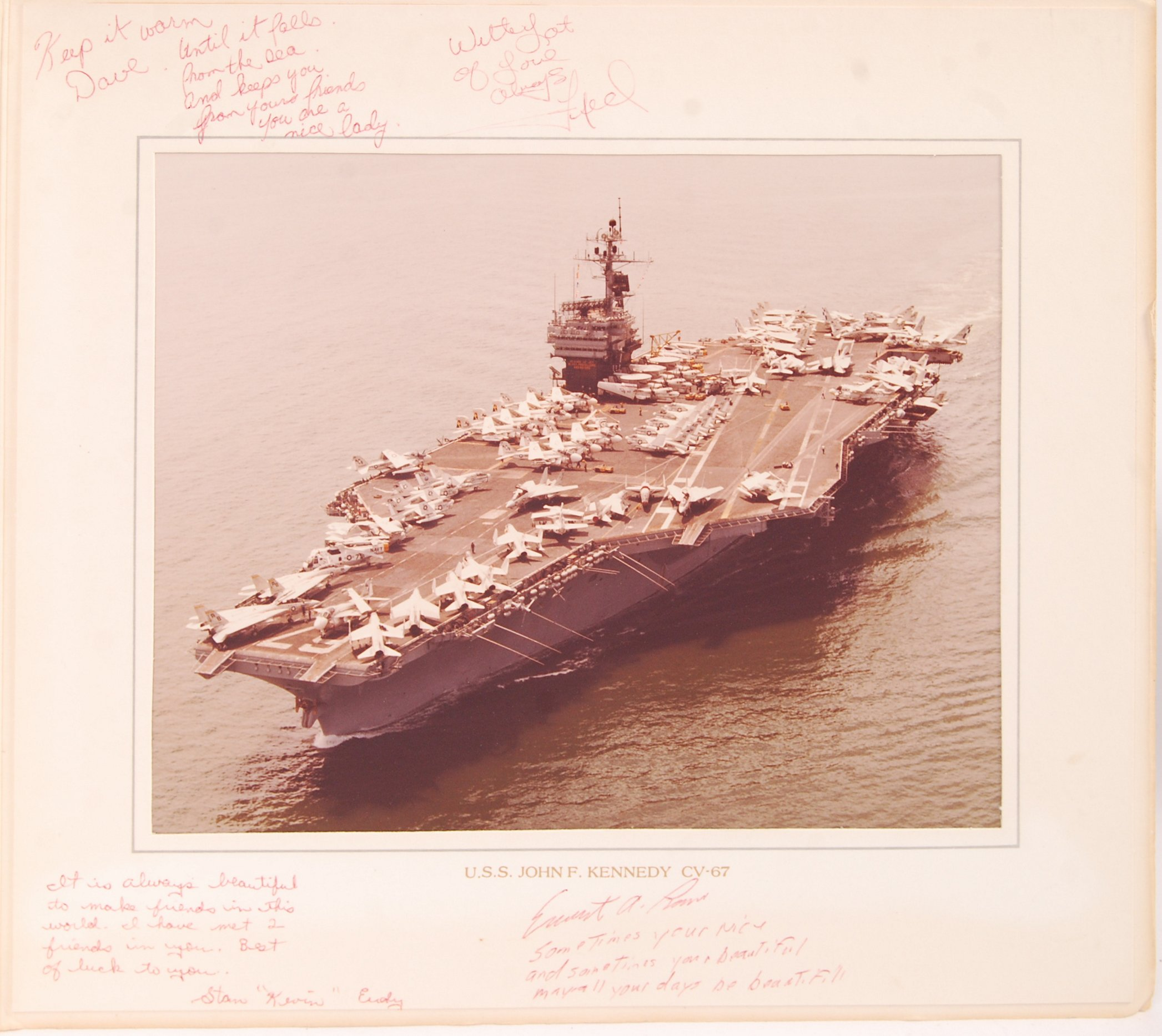 LOCAL INTEREST AMERICAN NAVY USS JOHN F. KENNEDY SIGNED PHOTO - Image 2 of 4
