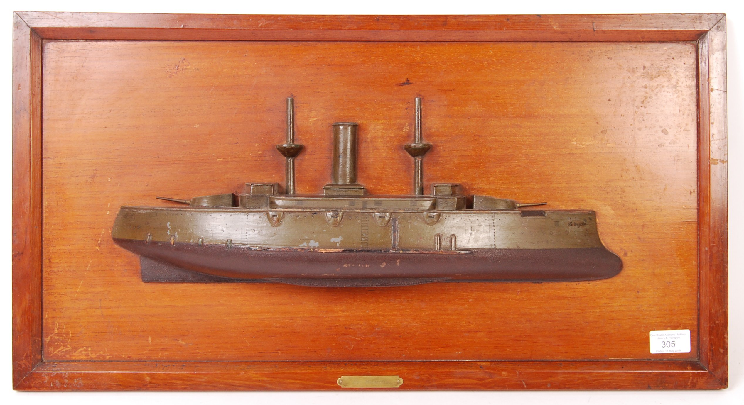 RARE WWI FRENCH HALF BLOCK MODEL OF AN IRONCLAD BATTERY