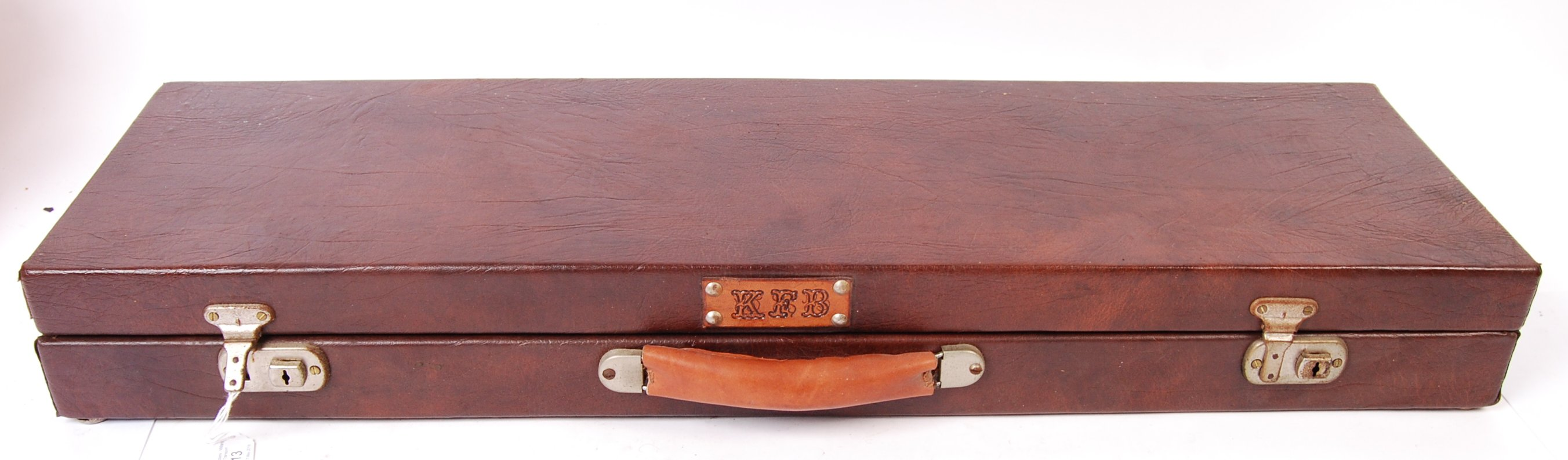 VINTAGE LEATHER SHOTGUN CASE WITH FITTED INTERIOR - Image 2 of 3