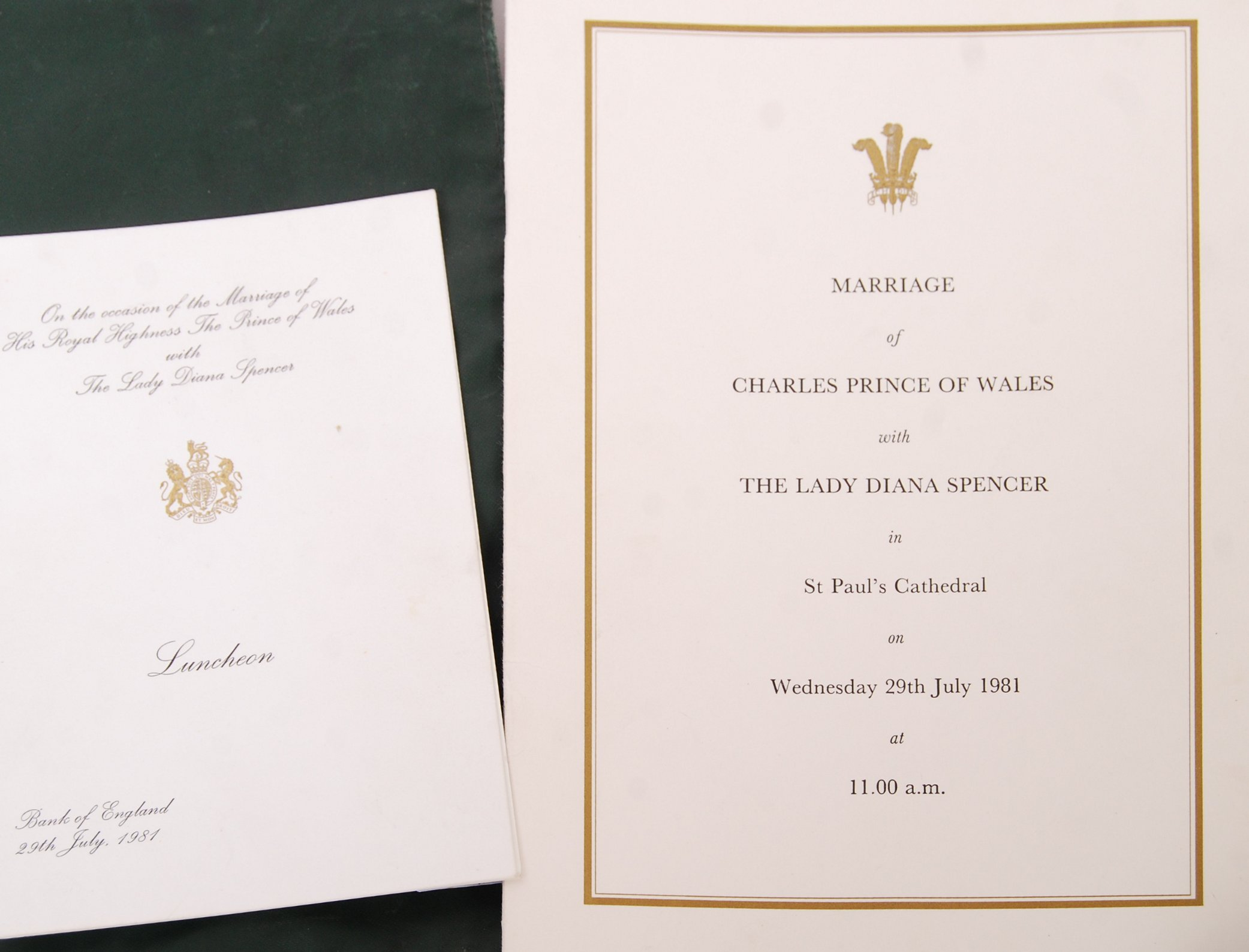 MARRIAGE OF THE PRINCE OF WALES & LADY DIANA SPENCER WEDDING EPHEMERA - Image 3 of 6