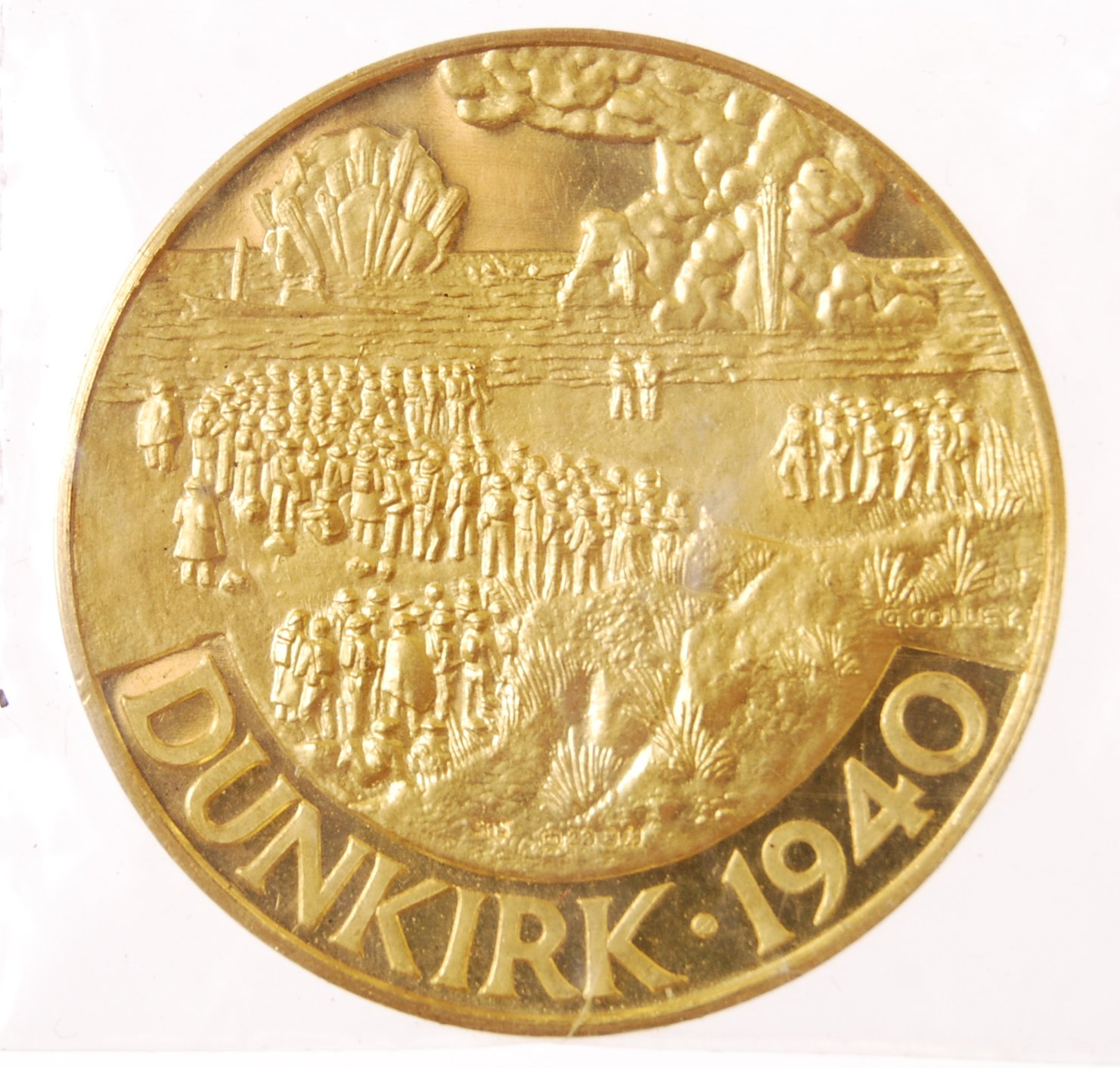 22CT GOLD 25TH ANNIVERSARY OF DUNKIRK COMMEMORATIVE COIN - Image 2 of 5