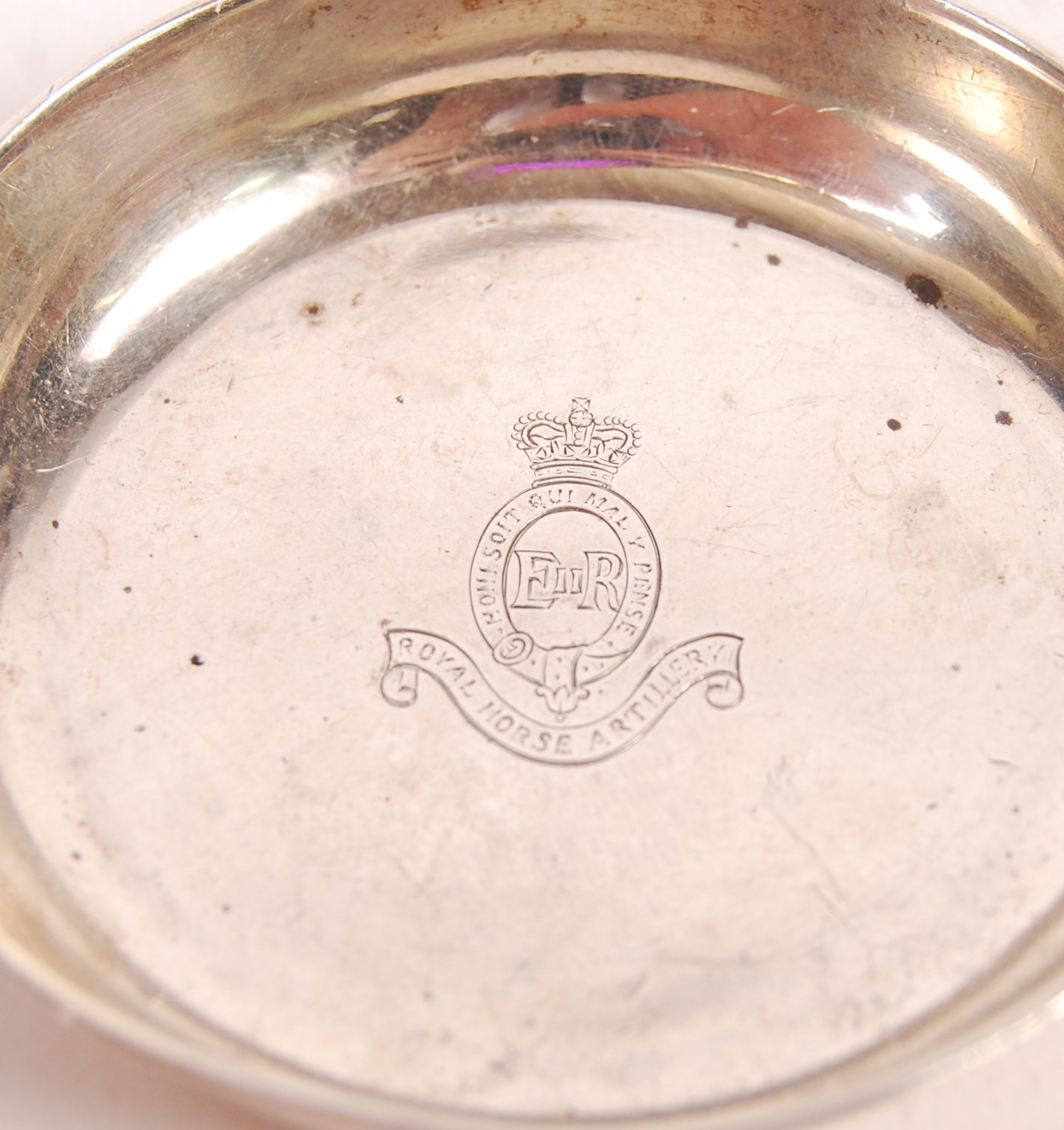 Lot 330 - HALLMARKED SILVER MILITARY RELATED PIN DISHES