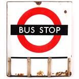 RARE VINTAGE LONDON TRANSPORT ' BUS STOP ' ENAMEL DOUBLE SIDED SIGN