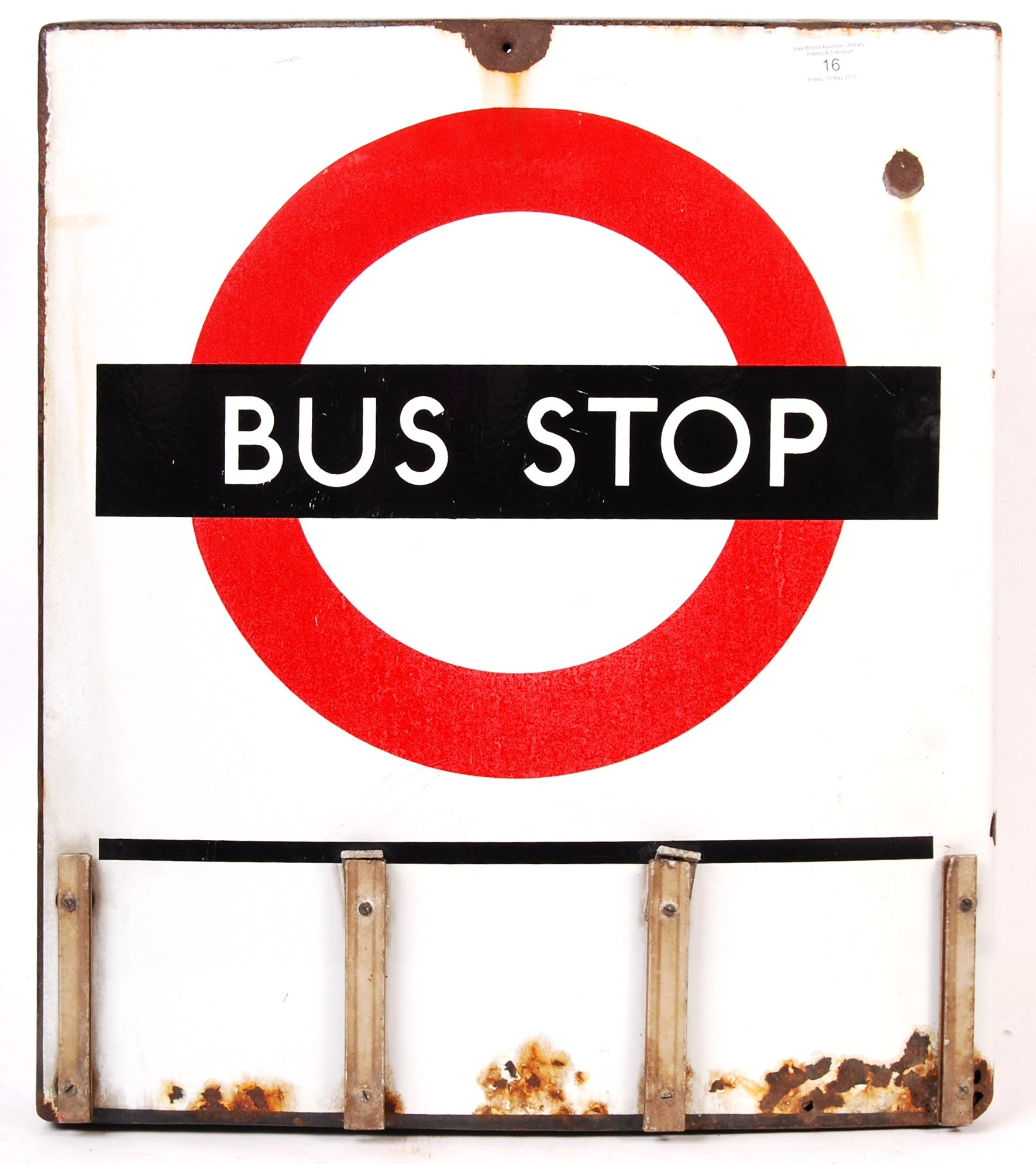 RARE VINTAGE LONDON TRANSPORT ' BUS STOP ' ENAMEL DOUBLE SIDED SIGN