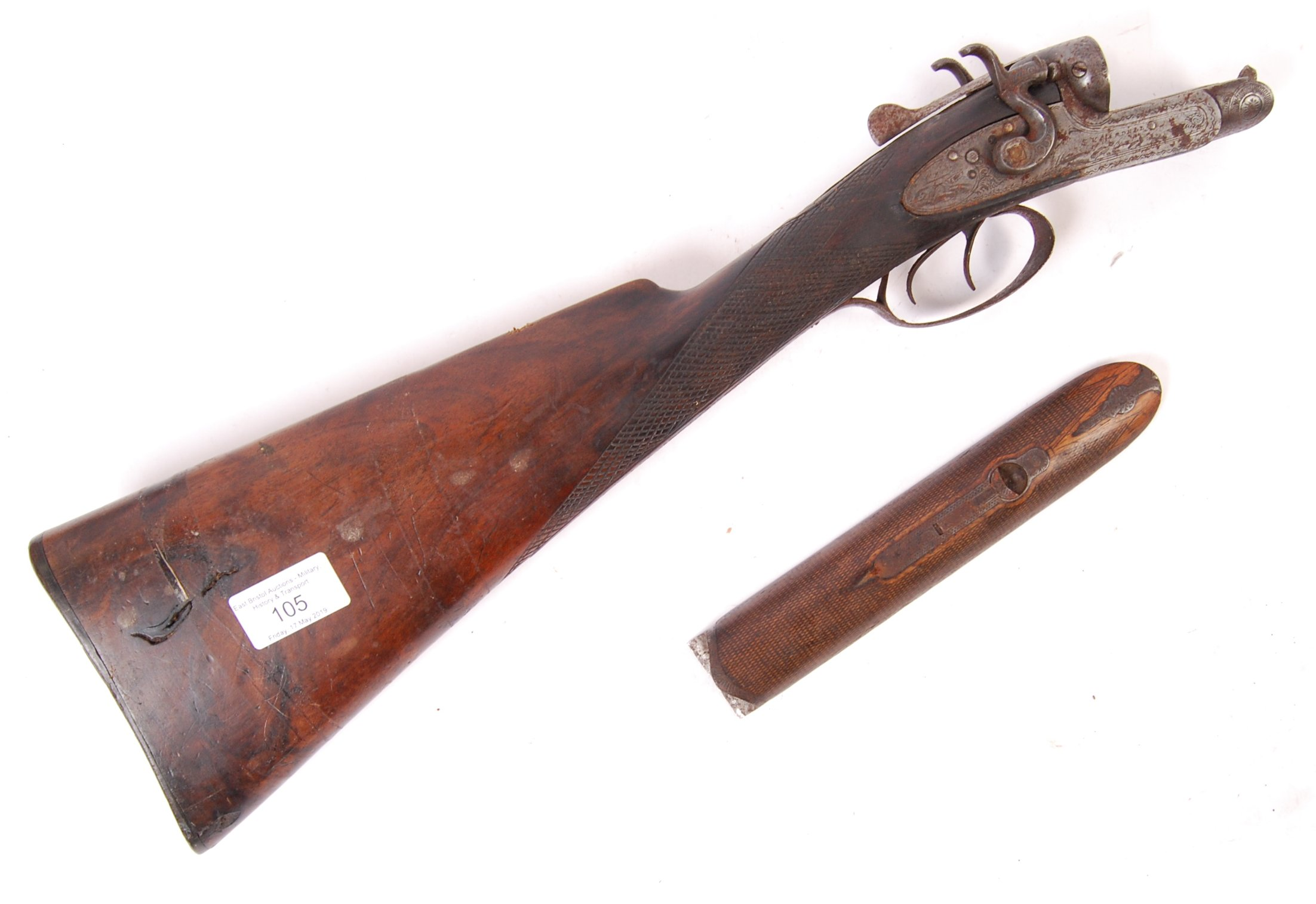 ANTIQUE 19TH CENTURY SV MARDELL SHOTGUN BUTT
