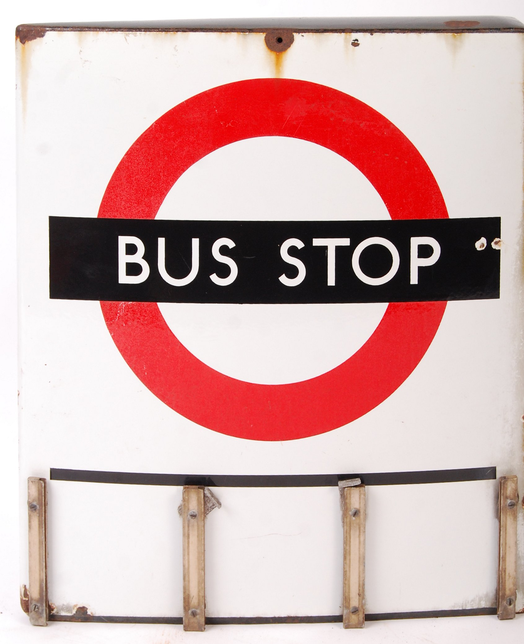 RARE VINTAGE LONDON TRANSPORT ' BUS STOP ' ENAMEL DOUBLE SIDED SIGN - Image 3 of 4