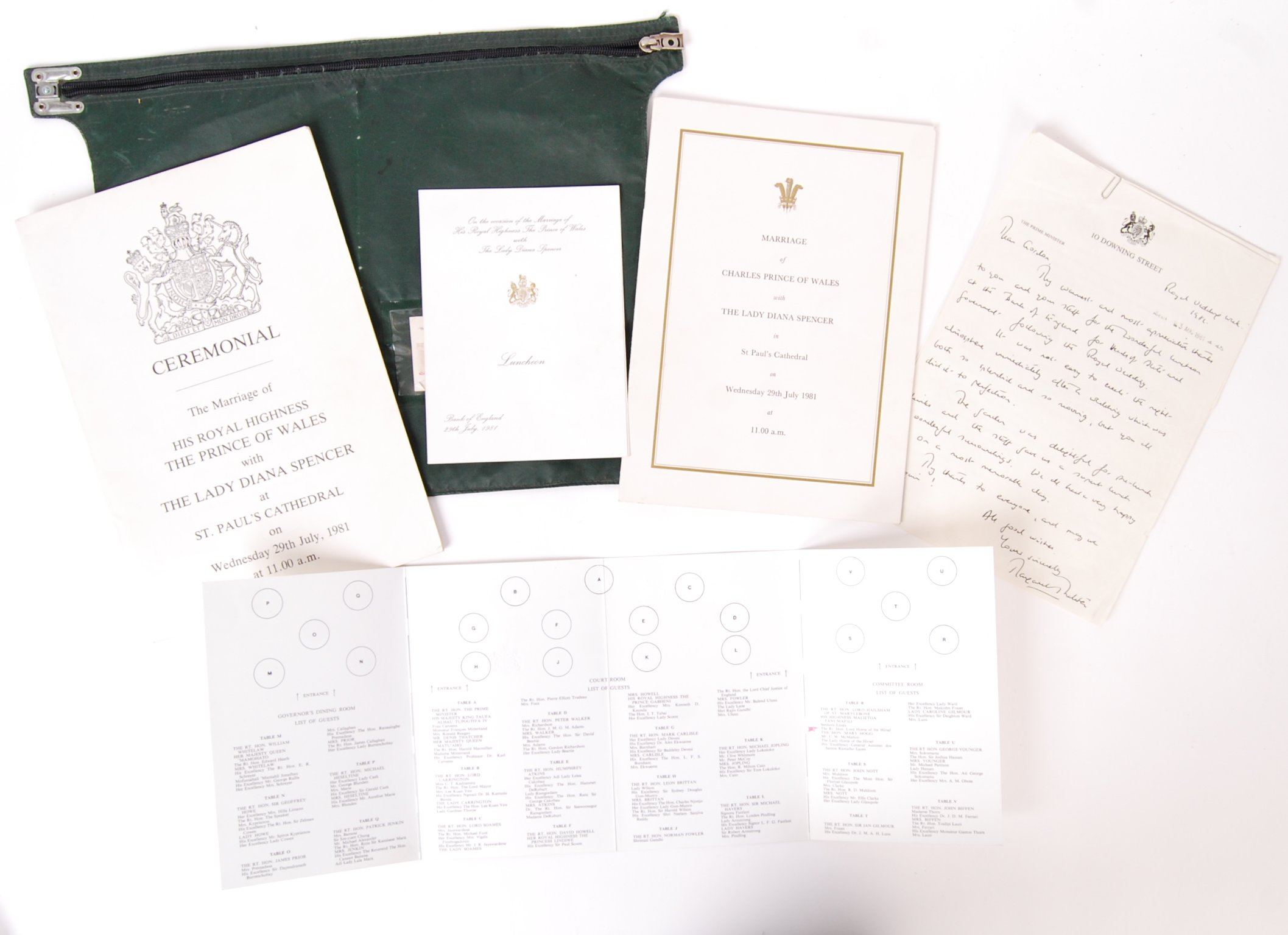 MARRIAGE OF THE PRINCE OF WALES & LADY DIANA SPENCER WEDDING EPHEMERA