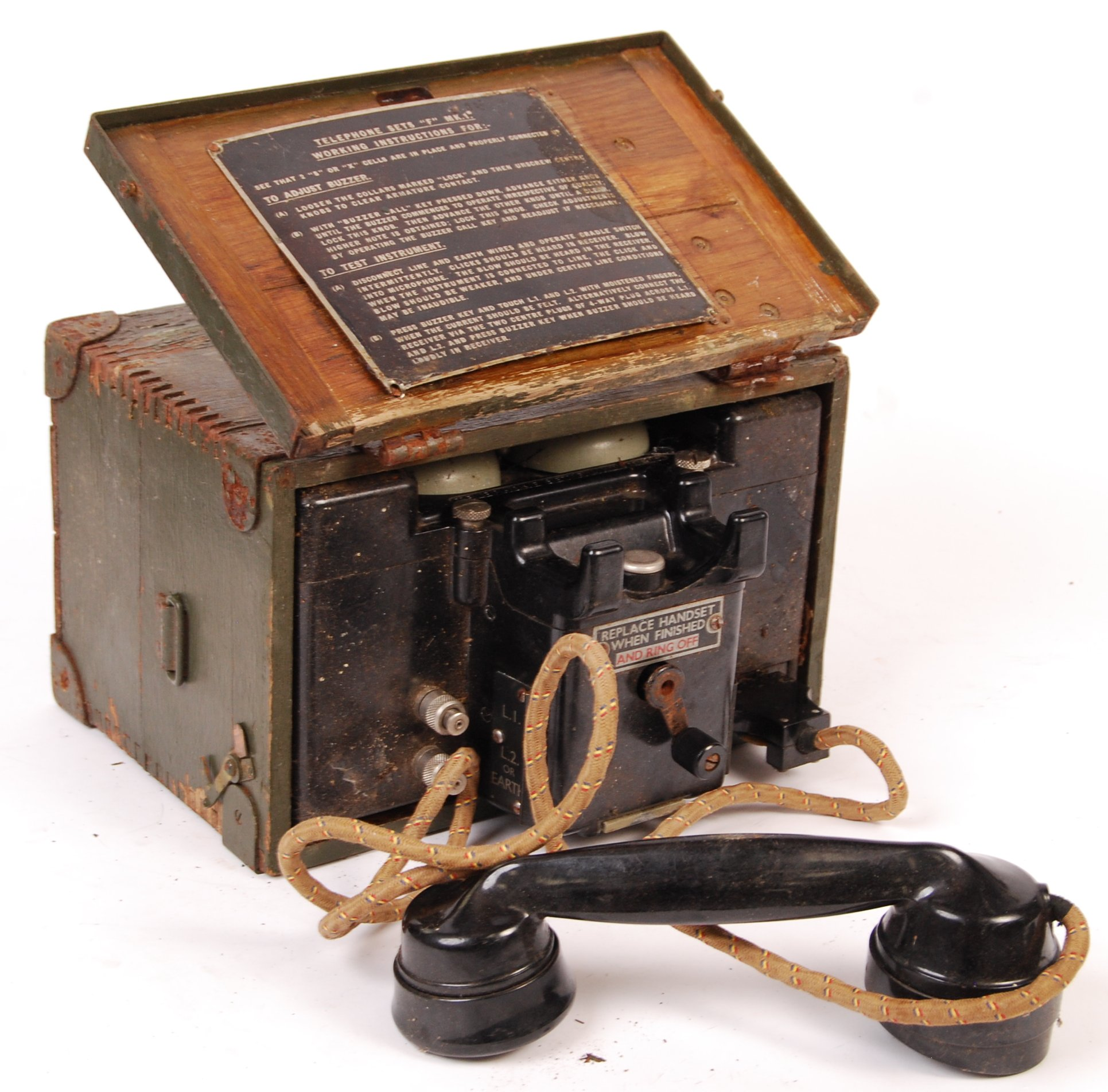 WWII SECOND WORLD WAR ERA MILITARY FIELD TELEPHONE - Image 2 of 3