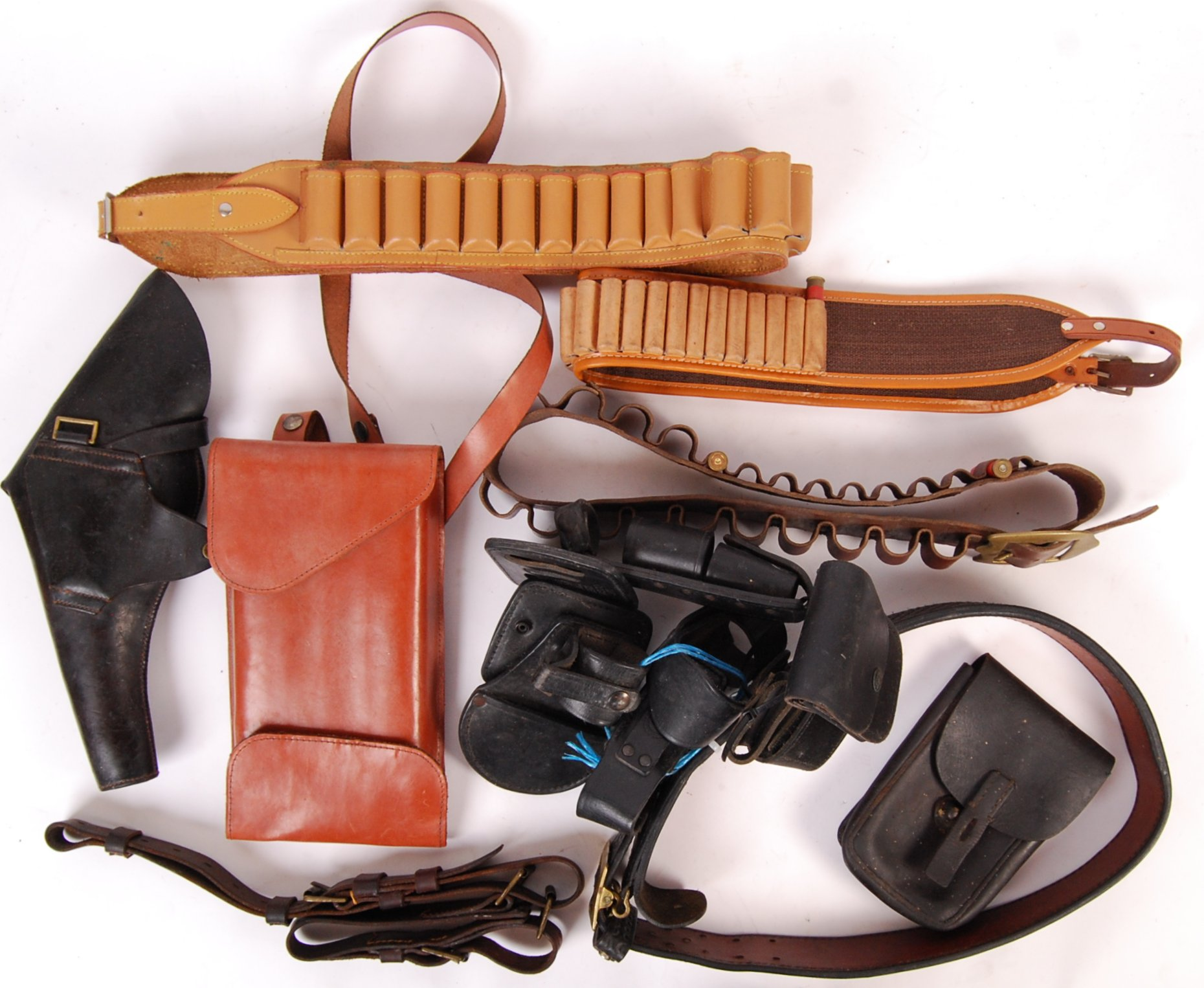 ASSORTED 20TH CENTURY RE-ENACTMENT / FIREARM RELATED LEATHER BELTS