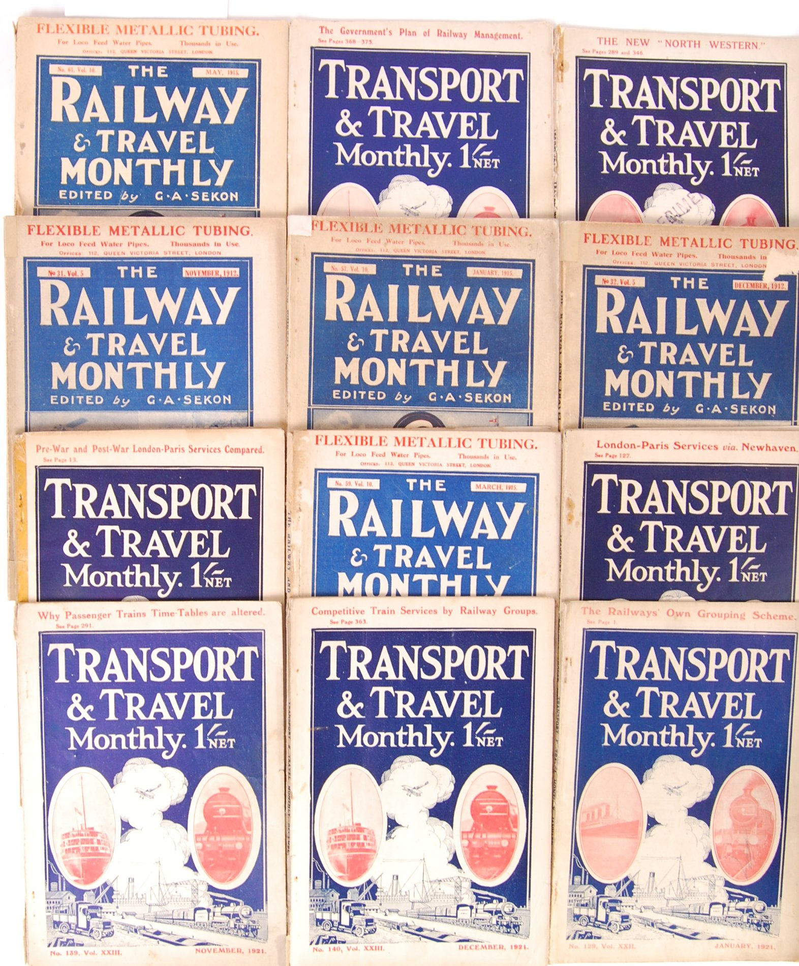 COLLECTION OF WWI ERA ' RAILWAY & TRAVEL MONTHLY ' MAGAZINES - Image 2 of 5