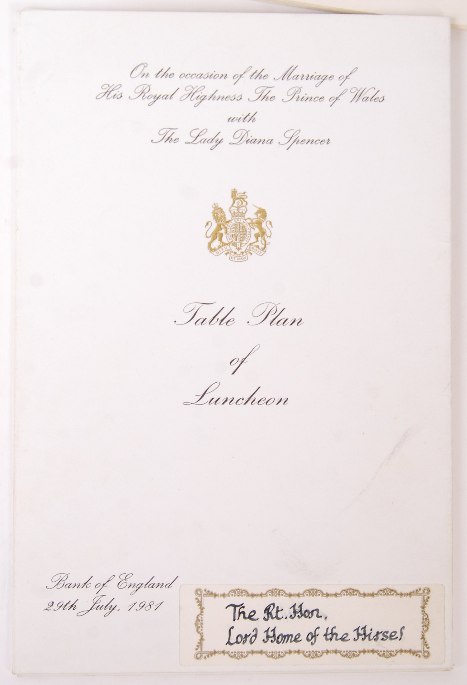 MARRIAGE OF THE PRINCE OF WALES & LADY DIANA SPENCER WEDDING EPHEMERA - Image 6 of 6