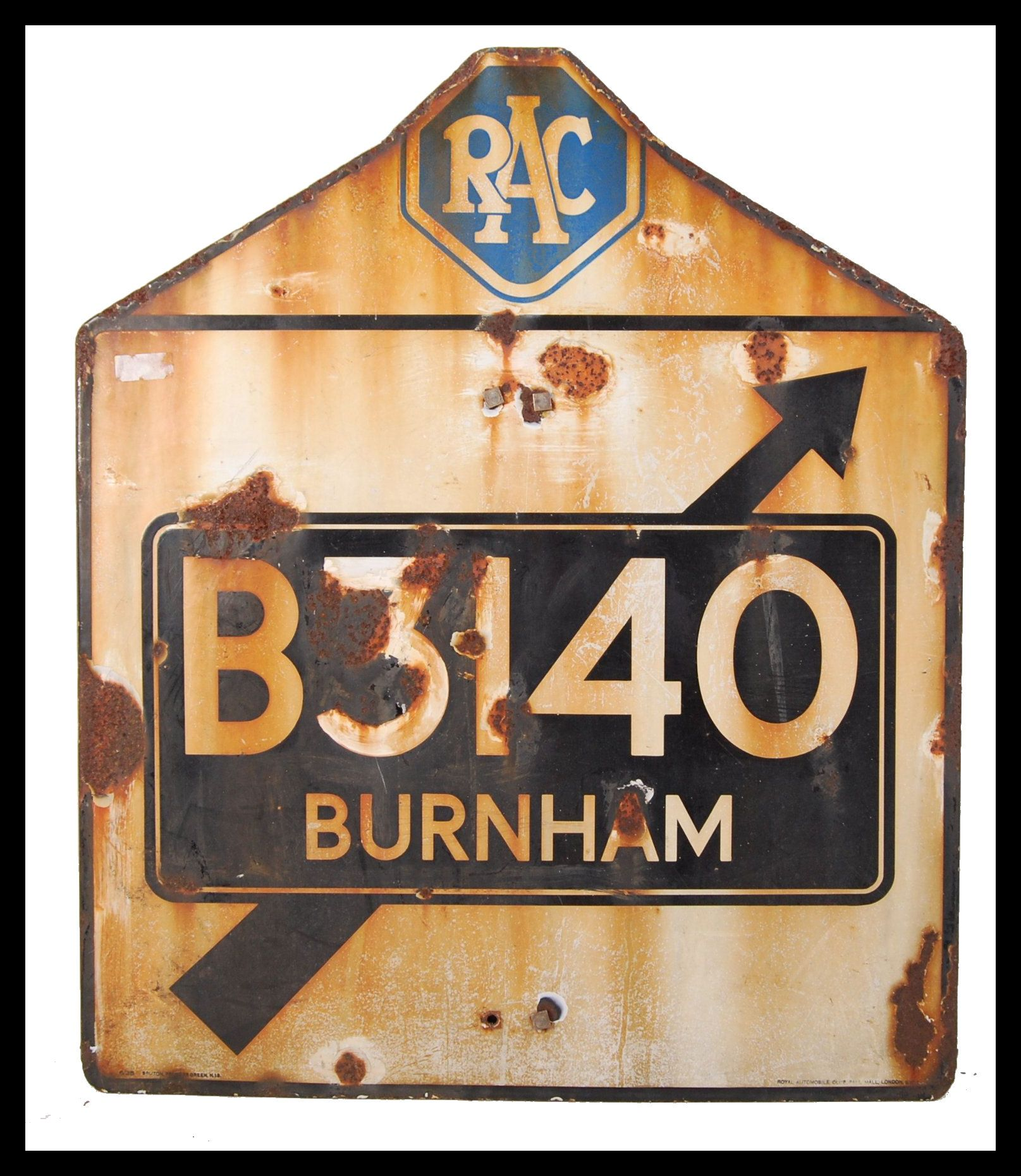 RARE ORIGINAL 1960'S RAC ENAMEL ROAD SIGN FOR BURNHAM ON SEA
