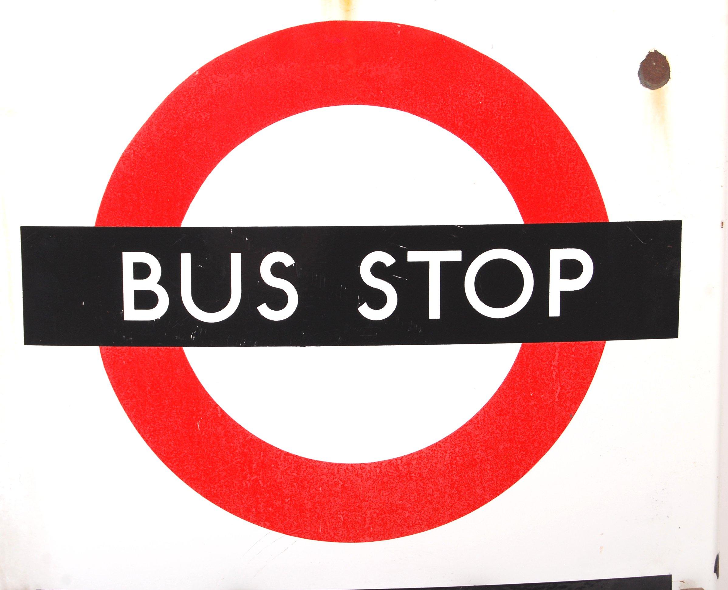 Lot 16 - RARE VINTAGE LONDON TRANSPORT ' BUS STOP ' ENAMEL DOUBLE SIDED SIGN