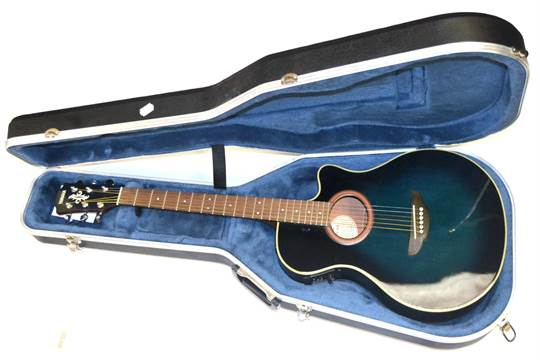 A Yamaha APX 4A Semi Acoustic Guitar With Black Finish In Fitted Case