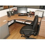 5' x 4' curved light oak effect DESK with black SWIVEL ARMCHAIR
