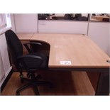 5' x 4' curved light oak effect DESK with pedestal and black fabric SWIVEL ARMCHAIR