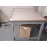 1 x 4' steel WORKBENCH and 1 x 4' grey wood WORKBENCH