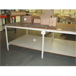 2.6m x 1.5m LAMINATED PACKING TABLE with paper dispenser with 3 rolls of 900mm brown paper