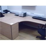 5' x 4' curved light oak effect DESK with pedestal