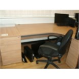 5' x 4' curved light oak effect DESK with black fabric SWIVEL ARMCHAIR