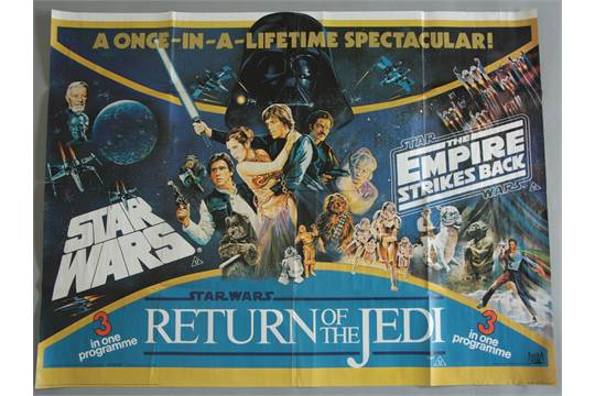 Star Wars Triple-bill British Quad film poster printed by Lonsdale