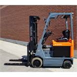 """TOYOTA (2003) 7FBCU15 48V ELECTRIC FORKLIFT WITH 3000 LB. CAPACITY, 189"""" MAX. VERTICAL LIFT, CUSHION"""