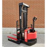 """RAYMOND (2015) RSS40 24V WALK-BEHIND ELECTRIC PALLET STACKER WITH 3750 LB. CAPACITY, APPROX. 128"""""""