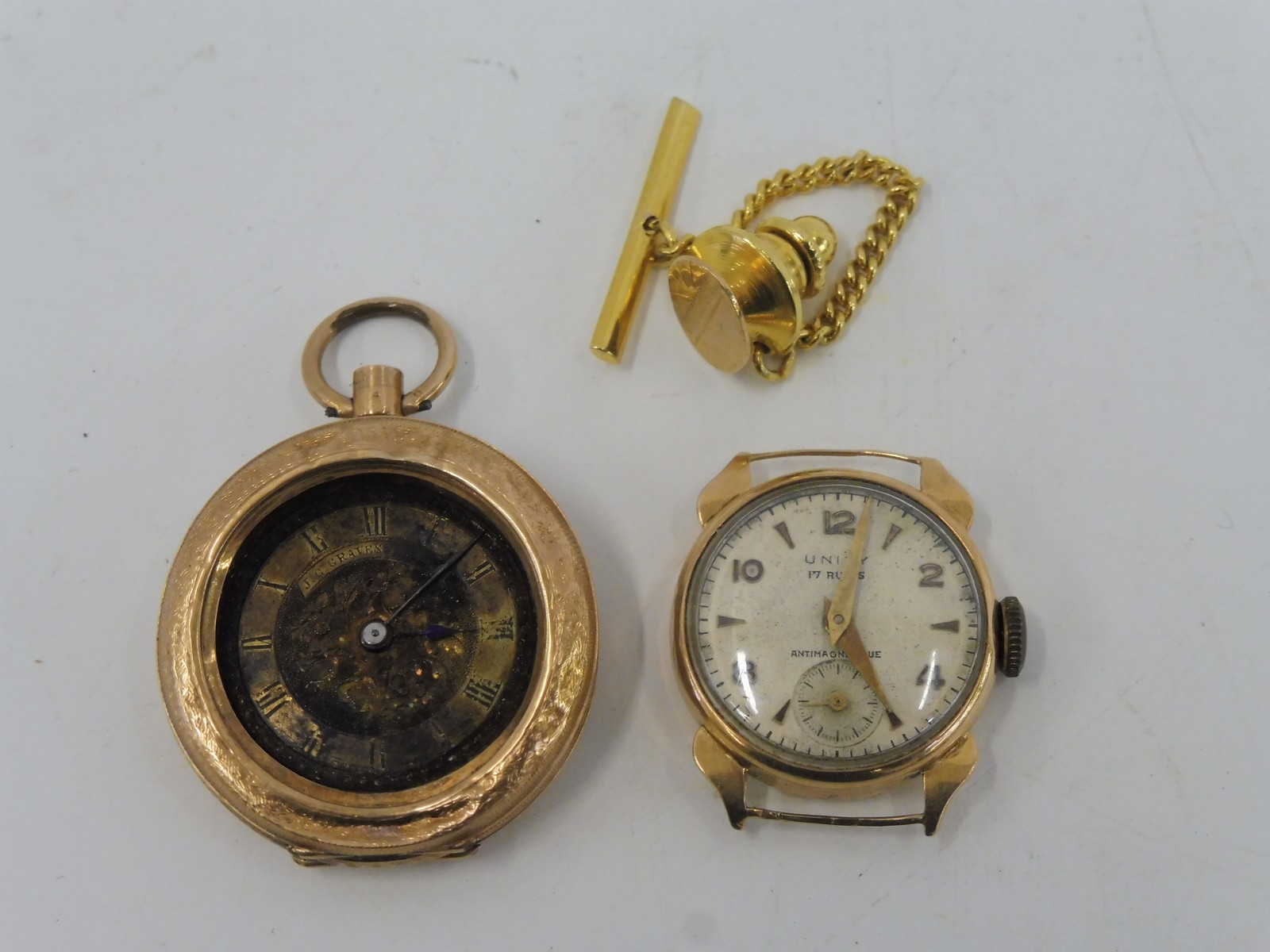 Lot 54 - A small 18ct gold lady's wristwatch, lacking strap and a 14k gold pocket watch for restoration.